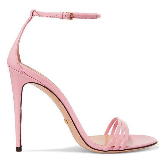 Gucci pink patent leather sandals as seen on Rihanna
