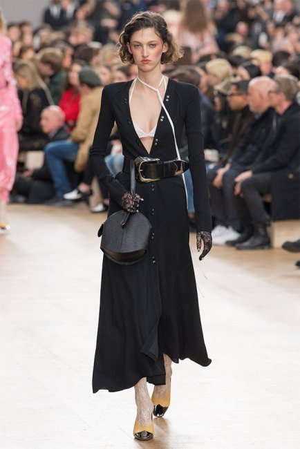 Nina Ricci Fall 2017 black button front dress as seen on Rihanna