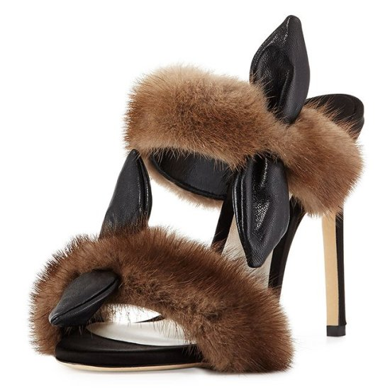 Olgana Paris mink fur mule sandal as seen on Rihanna
