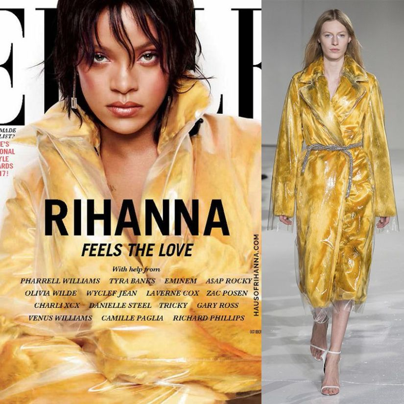 Rihanna Elle US October 2017 Calvin Klein yellow faux fur plastic coat