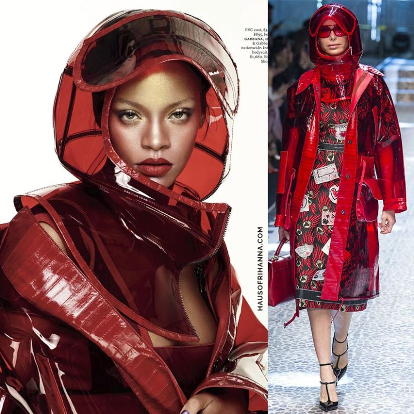 Rihanna Elle US October 2017 Dolce Gabbana red pvc coat and helmet