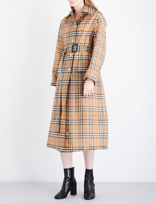 Burberry PVC vintage check trench coat as seen on Rihanna