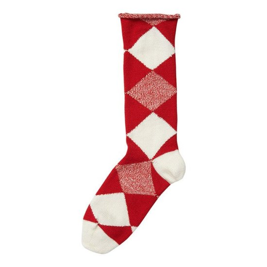 Burberry red and whte wool sock as seen on Rihanna
