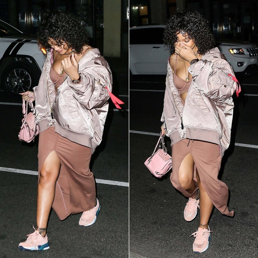 Rihanna Fenty Puma pink cutout dress, Vetements x Alpha Industries pink reversible bomber jacket, Puma x ALIFE peachy bud R698 Trinomic sneakers, Chloe pink Faye backpack