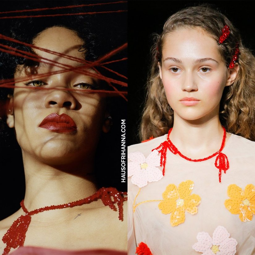 Rihanna Dazed magazine 2017 Simone Rocha red beaded bow necklace