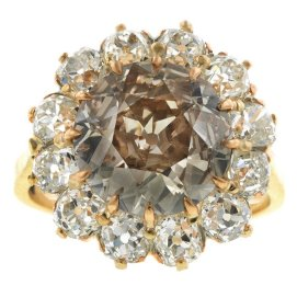 Doyle and Doyle antique diamond cluster ring as seen on Rihanna