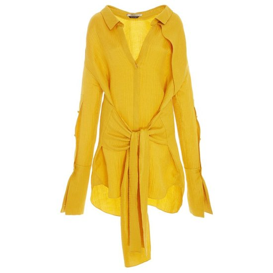 Hellessy Hutton yellow wrap waist shirt dress as seen on Rihanna