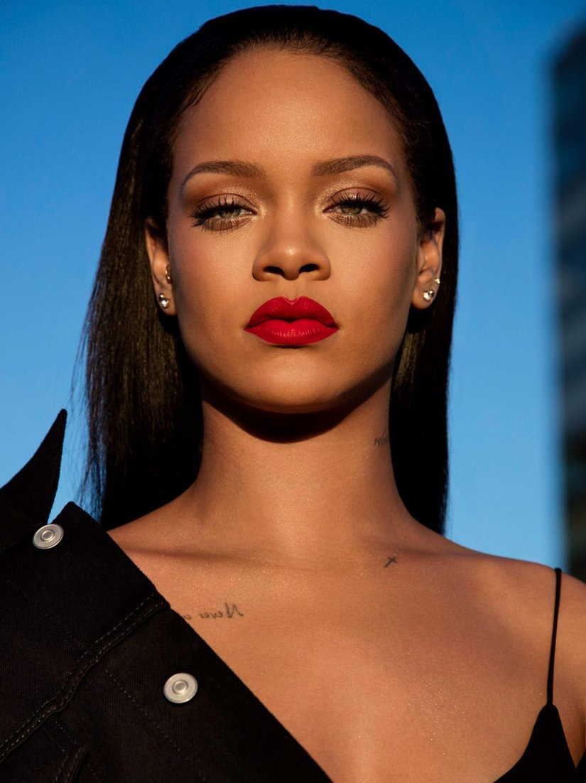 Rihanna Fenty Beauty Stunna lip paint red campaign
