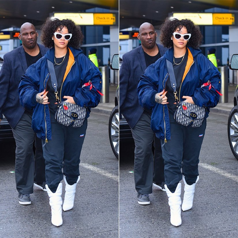 Rihanna Vetements Alpha Industries blue bomber jacket hooded, Palace Skateboards logo jogger, Off-White x Jimmy Choo white padded boots, Dior oblique saddle bag