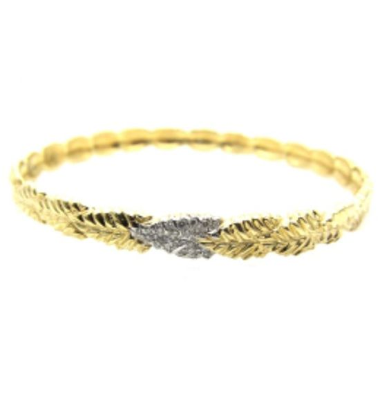Yakira Rona gold and diamond leaf bangle as seen on Rihanna
