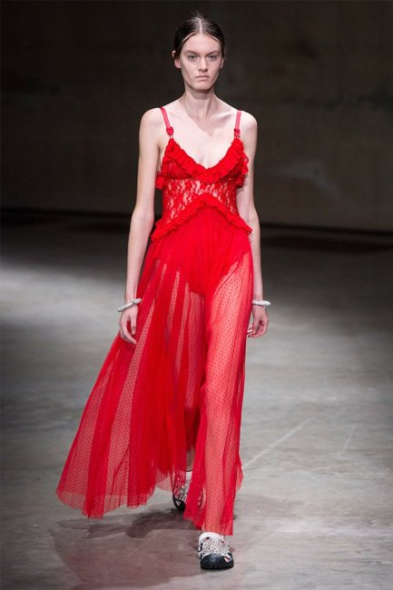 Christopher Kane red lace sheer pleated dress as seen on Rihanna