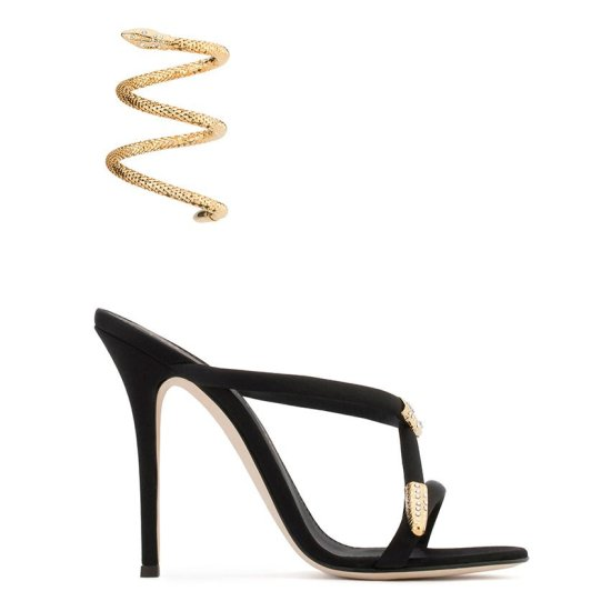 Giuseppe Zanotti Aleesha black satin mule with snake anklet as seen on Rihanna