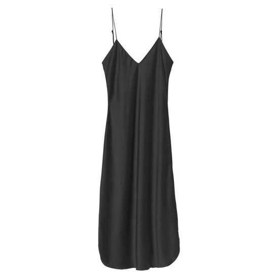 Nili Lotan short black cami slip dress as seen on Rihanna