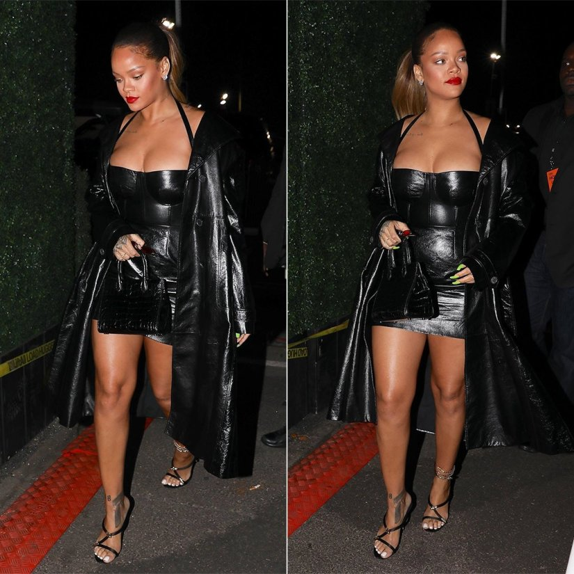 Rihanna custom Dior black leather dress coat Jay Z 4:44 show, Giuseppe Zanotti Aleesha mule with snake anklet, Gentle Monster Plip red sunglasses