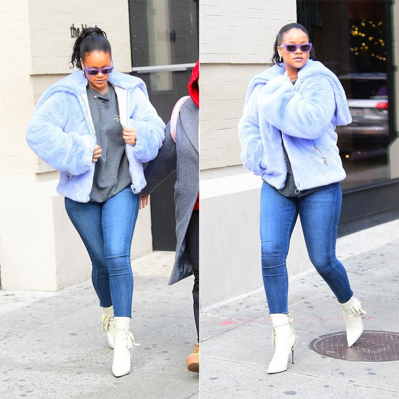 Rihanna Fenty Puma faux fur hooded jacket, Stussy sweatshirt, Kendall Miles Pout white studded ankleboots with pocket