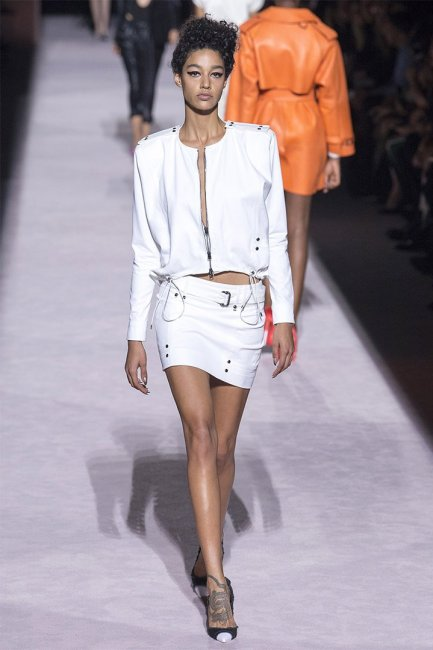 Tom Ford Spring 2018 white zip jacket and mini skirt as seen on Rihanna