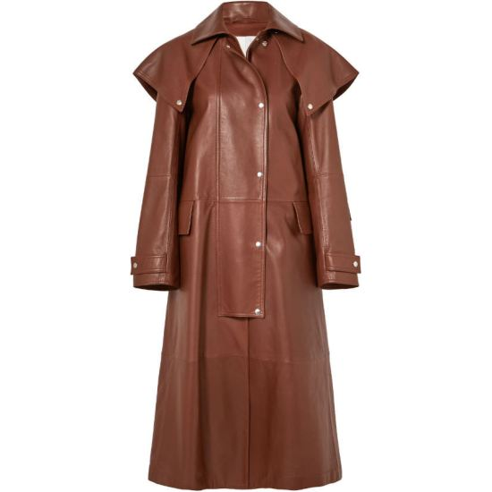 Calvin Klein brown leather trench coat as seen on Rihanna
