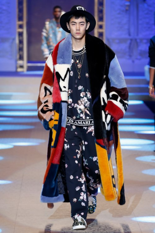 Dolce and Gabbana Fall 2018 menswear multicolored fur coat