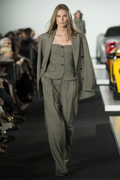 Ralph Lauren Fall 2017 double breasted suit as seen on Rihanna