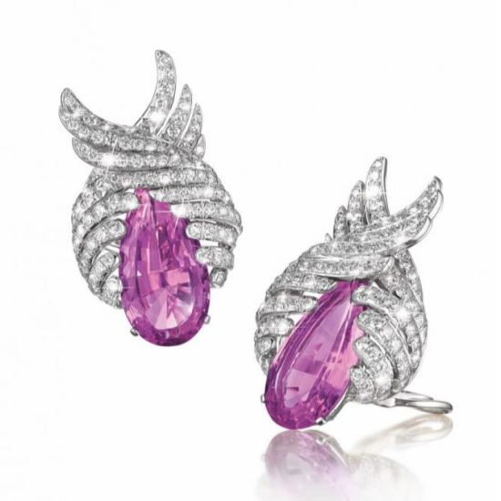 Verdura pink topaz and white diamond earrings as seen on Rihanna