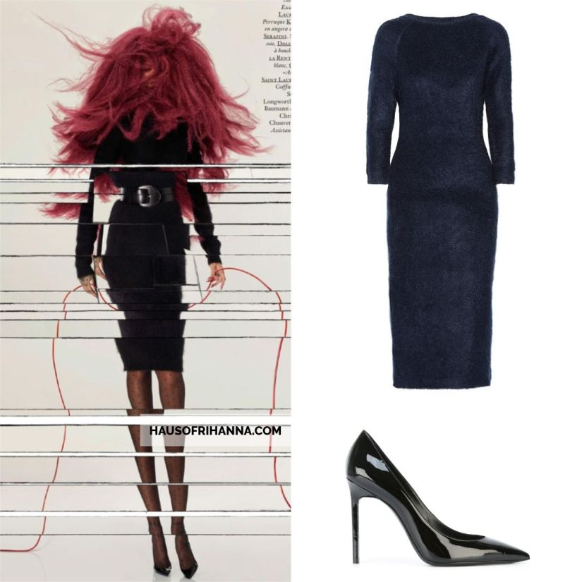 Rihanna Vogue Paris December 2017 Prada mohair dress, Saint Laurent Anja patent leather pumps