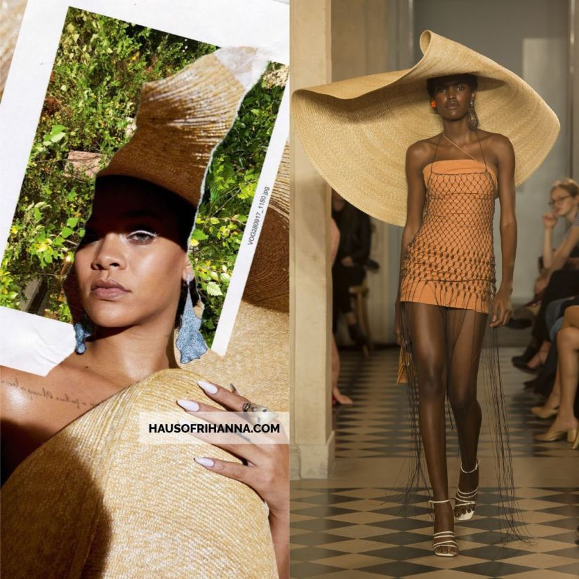 Rihanna Vogue Paris December 2017 Jacquemus Le Chapeau Bomba oversize straw hat, Chopard tourmaline diamond earrings