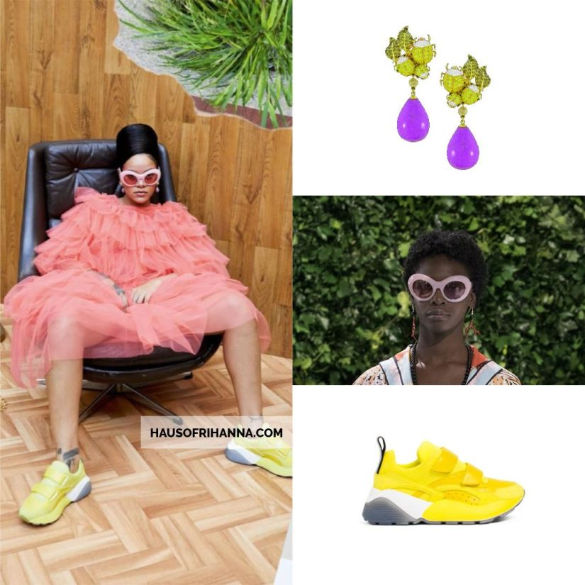 Rihanna Vogue Paris December 2017 Lydia Courteille sweet and sour earrings, Emilio Pucci oversized sunglasses, Stella McCartney eclypse velcro sneakers