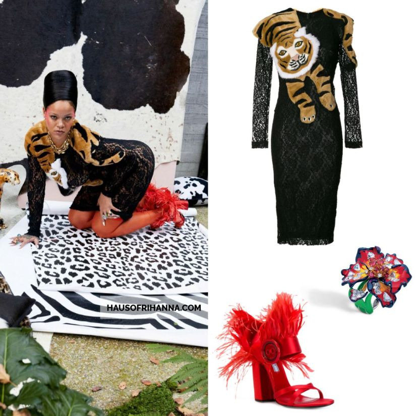 Rihanna Vogue Paris December 2017 Dolce and Gabbana lace dress with fur tiger shawl, Prada red feather sandals, Dior Egratigna ring