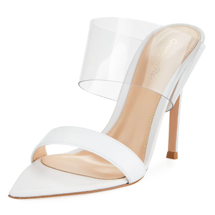 Gianvito Rossi white plexi slide PVC mule sandals as seen on Rihanna