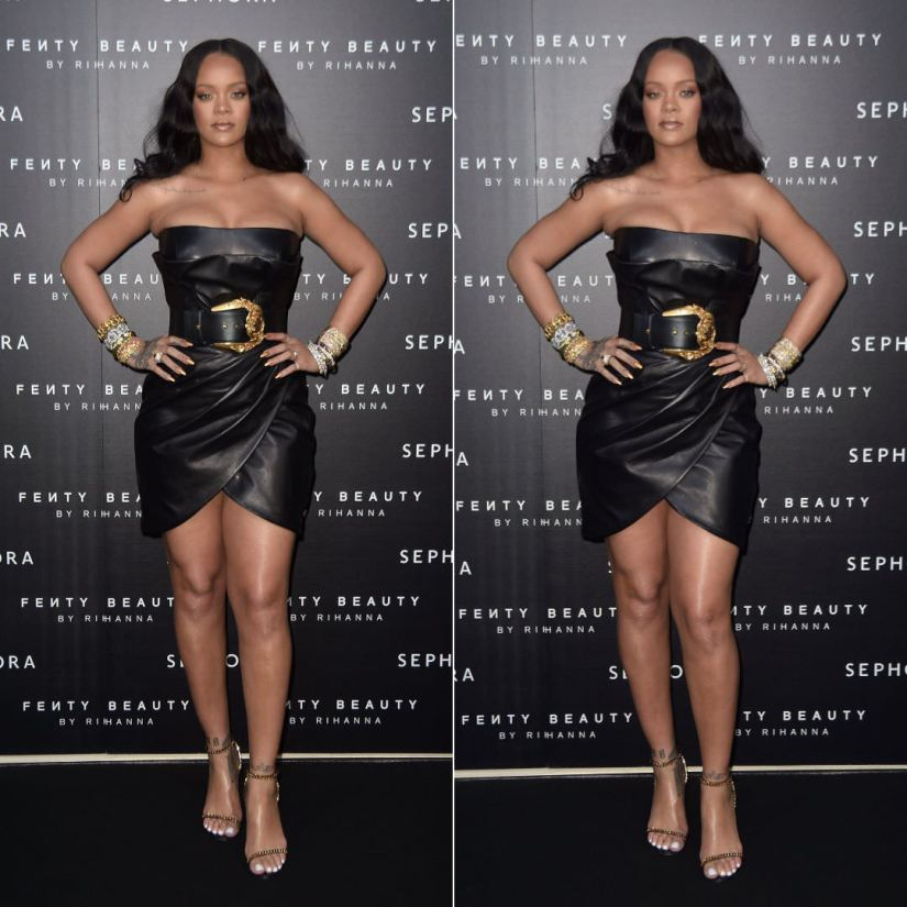 Rihanna Versace black leather dress Fenty Beauty Launch Sephora Milan Italy, Tom Ford black chain sandals