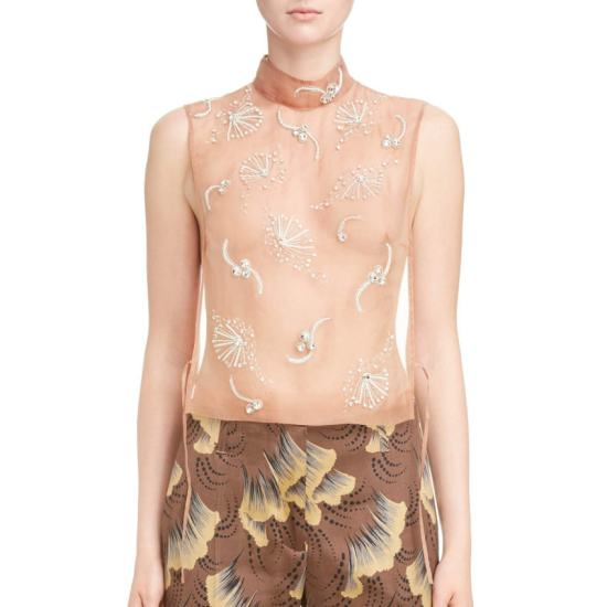 Dries Van Noten crystal-embellishd sheer tank top as seen on Rihanna