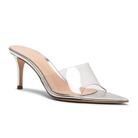 Gianvito Rossi silver leather and PVC mules as seen on Rihanna