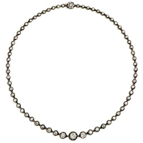 Kentshire antique old mine diamond riviere necklace as seen on Rihanna