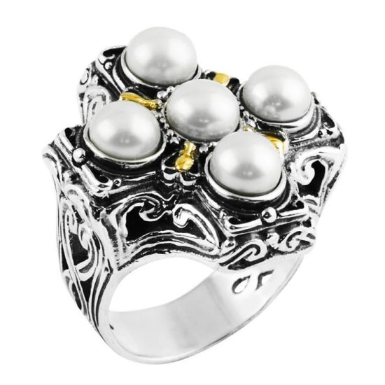 Konstantino sterling silver, 18k yellow gold and pearl cross ring as seen on Rihanna