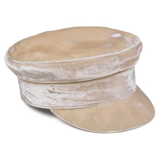 Lack of Color gold velveteen baker boy cap as seen on Rihanna