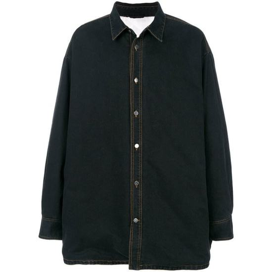 Raf Simons black oversized denim shirt jacket as seen on Rihanna