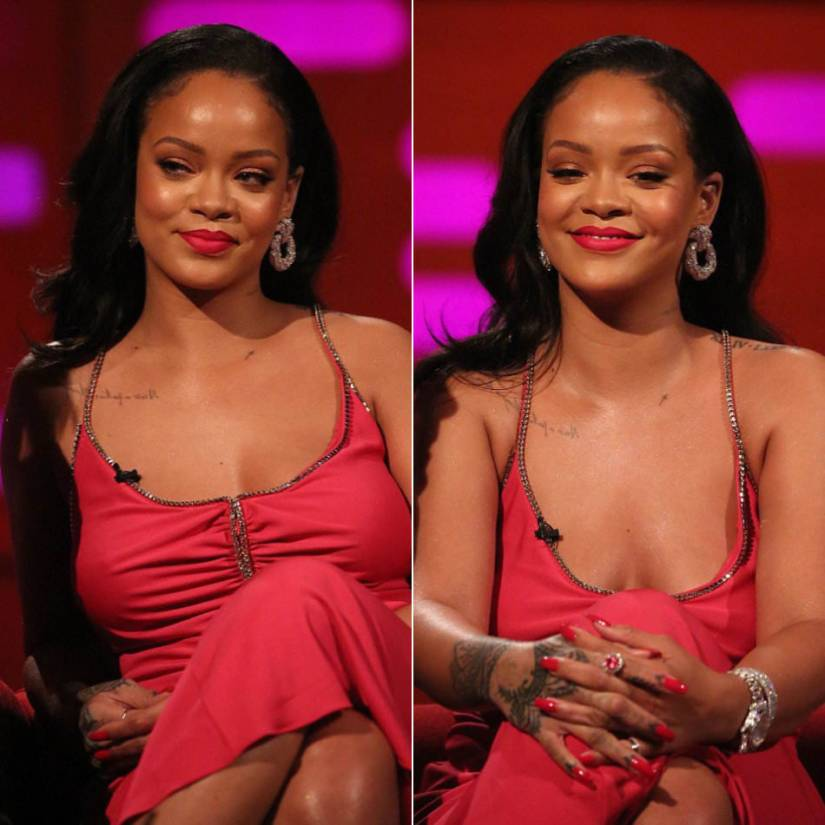 Rihanna Pucci pink dress Graham Norton Show, Manolo Blahnik sandals, Eleuteri diamond earrings and ring, Beladora pink tourmaline ring, Chopard watch, Jill Heller diamond cuff bracelets