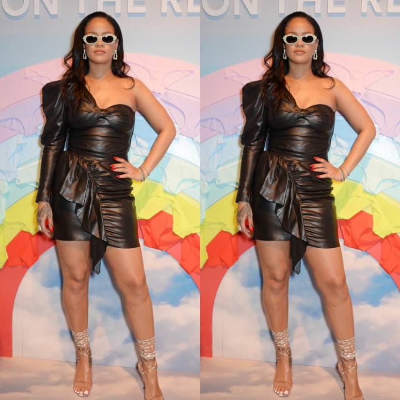 Rihanna black leather dress Savage London pop-up shop Isabel Marant Noop top and Nela skirt, Manolo Blahnik strappy PVC sandals