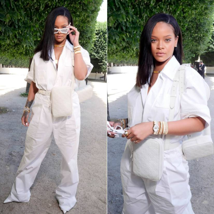 Rihanna Louis Vuitton Virgil Abloh menswear show white jumpsuit, white monogram bag and sunglasses, Buccellati Macri cuff bracelets and opera watc, Le Vian yellow diamond necklace