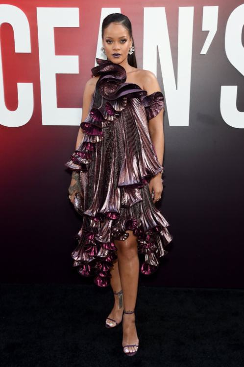 Rihanna Givenchy purple pleated dress Oceans 8 premiere New York, Bulgari Giardini Italiani diamond earrings and Serpenti Incantati watch, Judith Leiber crystal slide lock clutch, Manolo Blahnik ankle-strap sandals, Le Vian rings