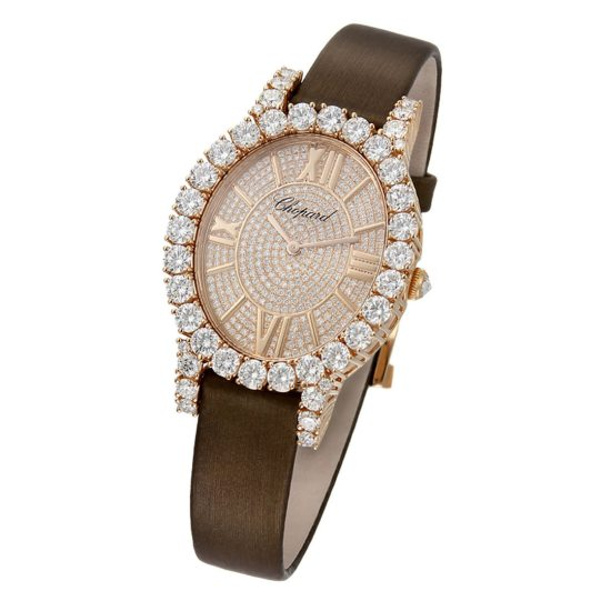 Chopard L'Heure du Diamant brown strap diamond watch as seen on Rihanna