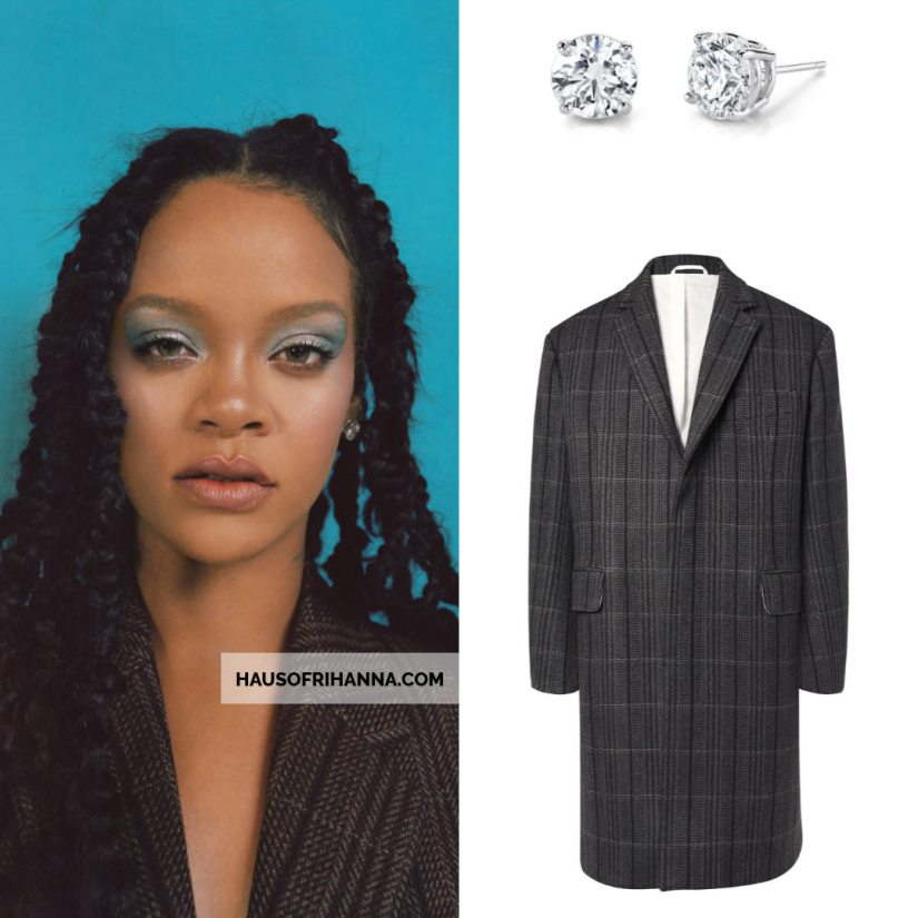 Rihanna Allure magazine Best of Beauty 2018 issue Harry Kotlar diamond stud earrings and Calvin Klein checked wool coat
