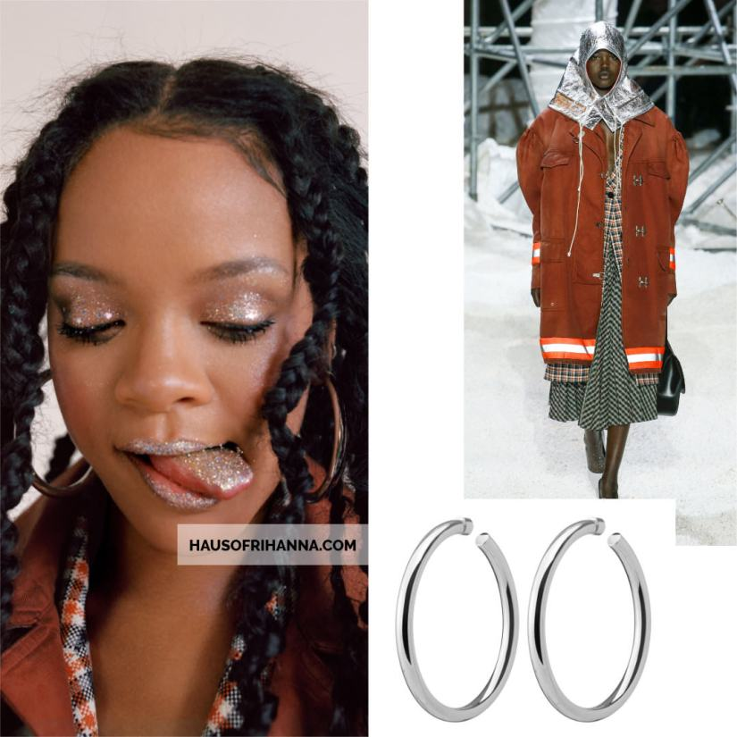 Rihanna Allure magazine Best of Beauty 2018 issue Calvin Klein suede jacket and orange plaid top, Jennifer Fisher silver Samira hoop earrings