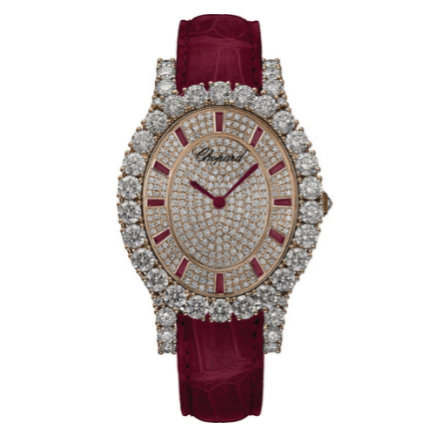 Chopard L'heure du Diamant diamond and ruby watch as seen on Rihanna