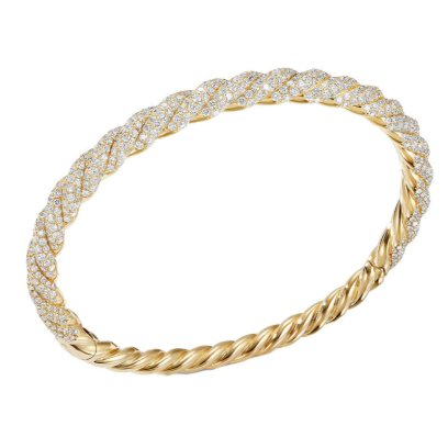 David Yurman Stax Twist 18k gold diamond bracelet as seen on Rihanna