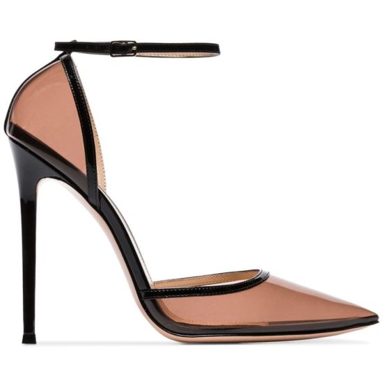 Gianvito Rossi Sabin sheer black PVC ankle-strap pumps as seen on Rihanna