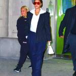 Rihanna Gareth Pugh black pinstripe blazer, Fenty shield sunglasses, Fendi Peekaboo Mini white croc leather handbag, Balenciaga white pointed toe ankle boots, Jacquie Aiche Life is Beautiful and emerald necklaces