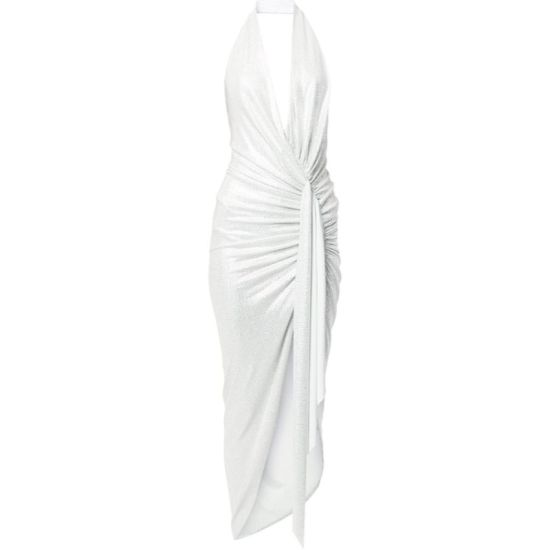 Alexandre Vauthier white crystal glitter halter wrap gown as seen on Rihanna