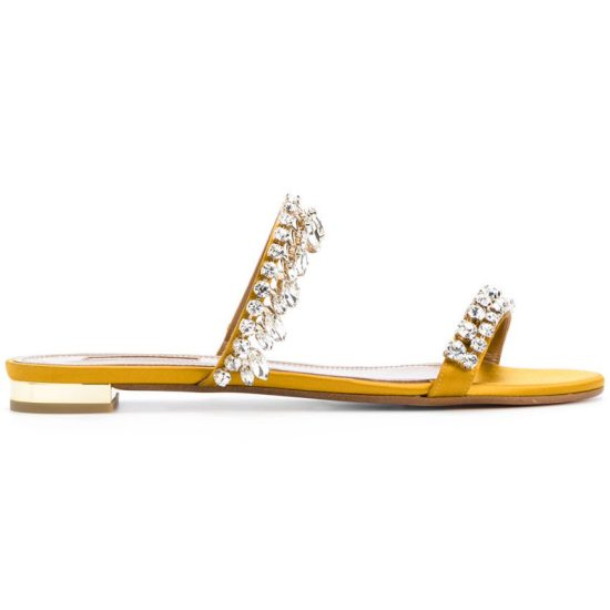 Aquazzura Eden crystal-embellished flat sandals in yellow gold as seen on Rihanna