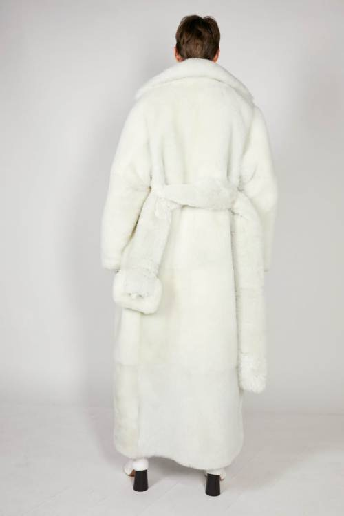 Celine pre-fall 2018 belted white fur coat as seen on Rihanna